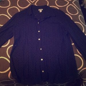 Navy Blue Eyelet Button Up Top